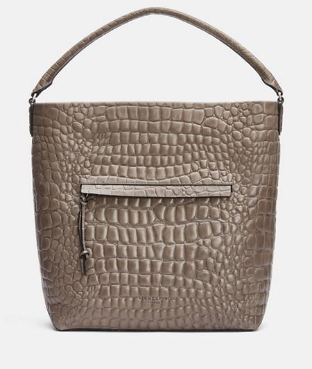 Hobo Bag aus Leder mit hochwertiger Krokoprägung
