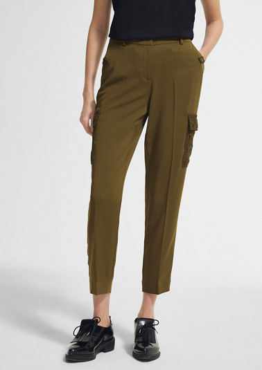Regular: trousers with lace details from comma