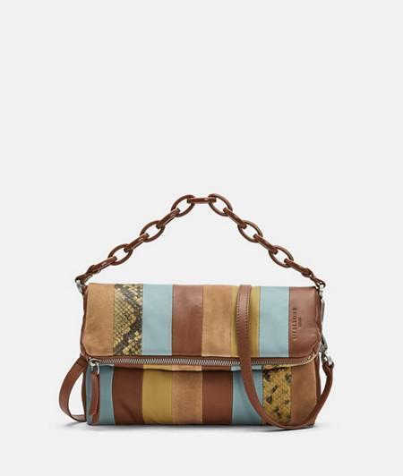 kleines Patchwork Bag mit Schlangenhautoptik