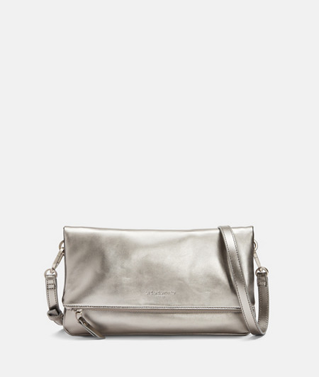 Clutch aus Leder in Metallic