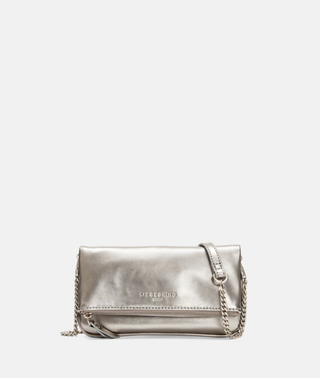 Mini-Clutch in Metallic aus Leder