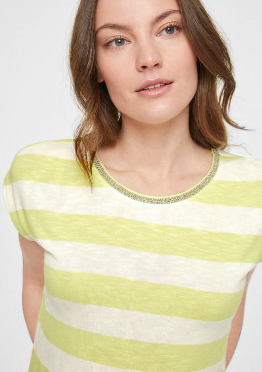 Streifenshirt mit Schmuck-Kragen