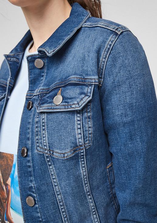Jeansjacke mit Leder-Patch