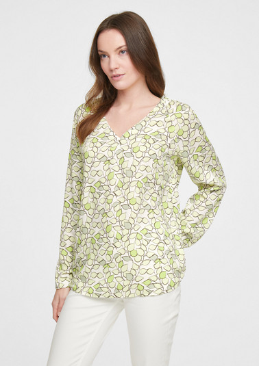 Patterned blouse with a V-neckline from comma