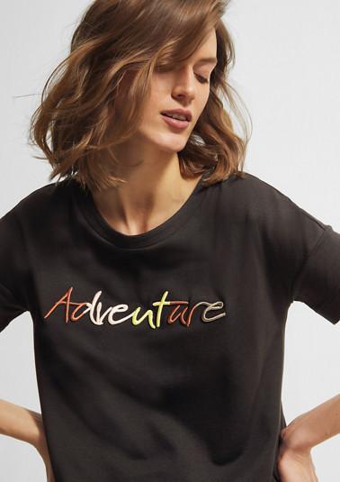 Besticktes Shirt mit Tunnelzug