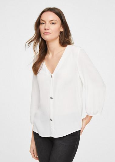 3/4-Arm-Bluse mit Zierknopfleiste