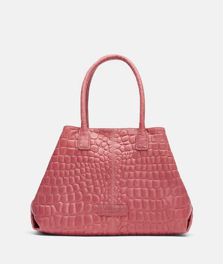eleganter Shopper aus Leder mit Krokodilprägung