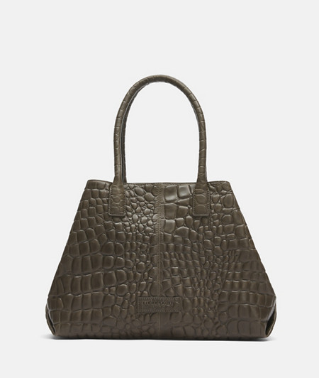 Elegant leather shopper with crocodile embossing from liebeskind