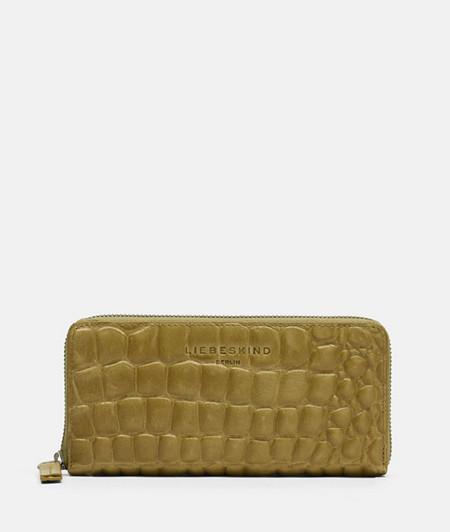 Leder-Brieftasche mit Krokodilhautprägung