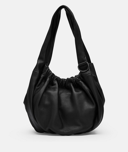Leather tote bag with gathers on the opening from liebeskind