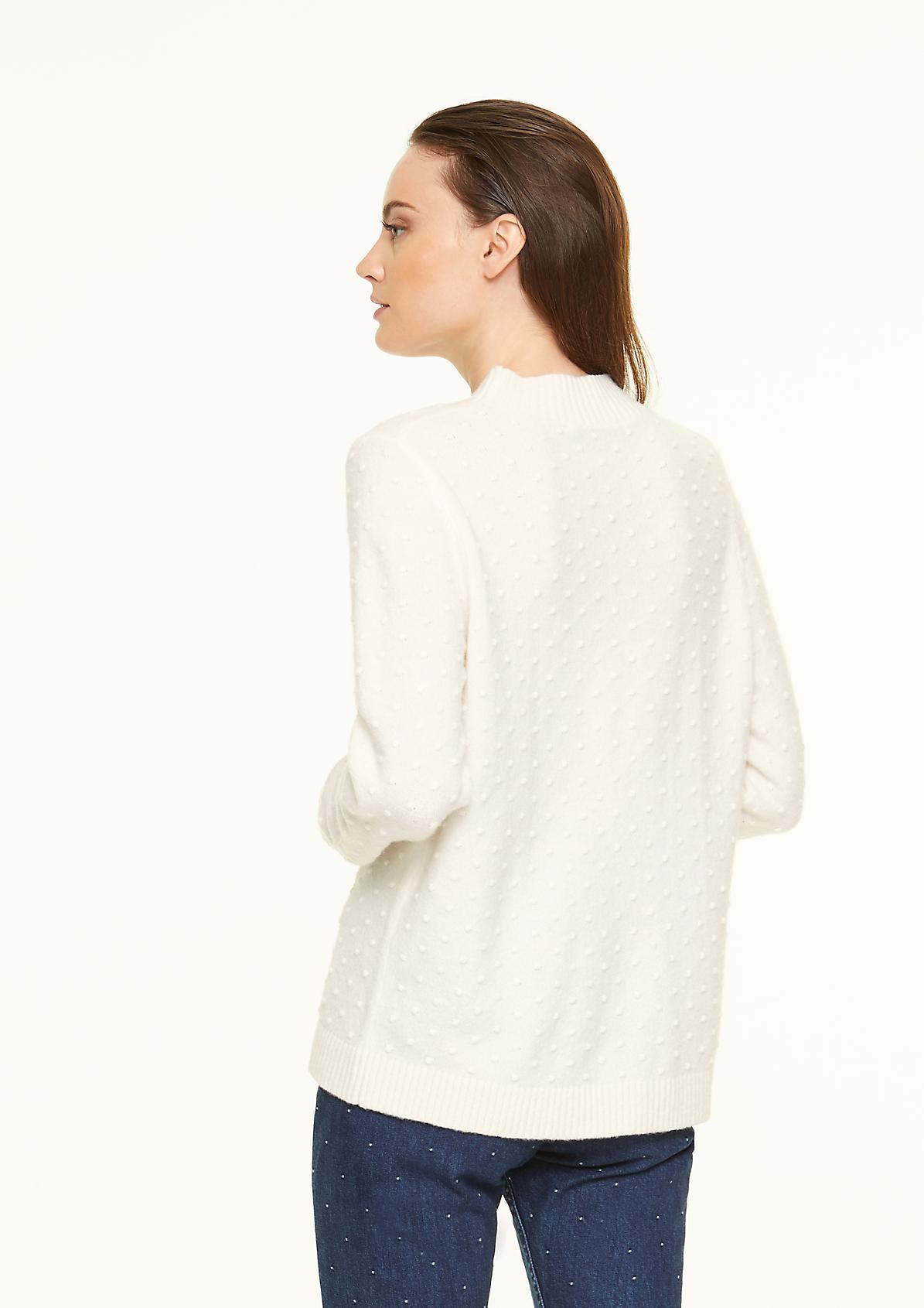 High Neck-Pullover mit Strukturmuster