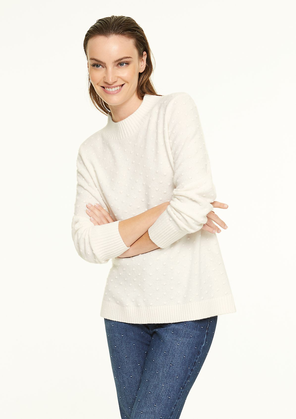 High-neck jumper with textured pattern from comma