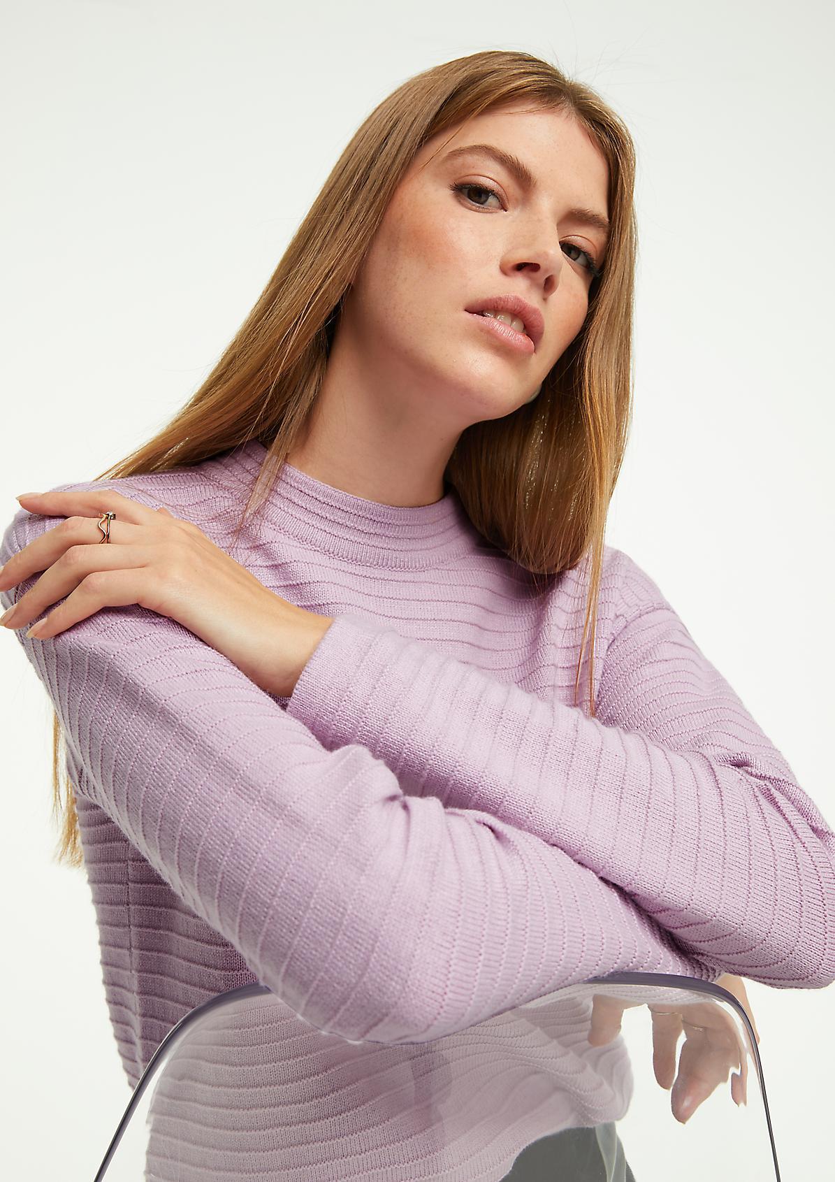 Wollmix-Pullover mit Struktur