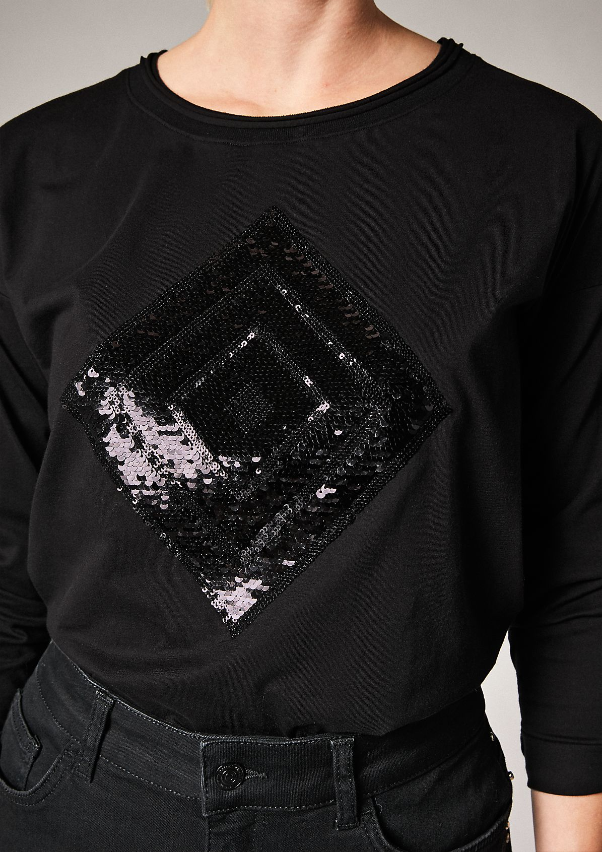 Langarmshirt mit Pailletten