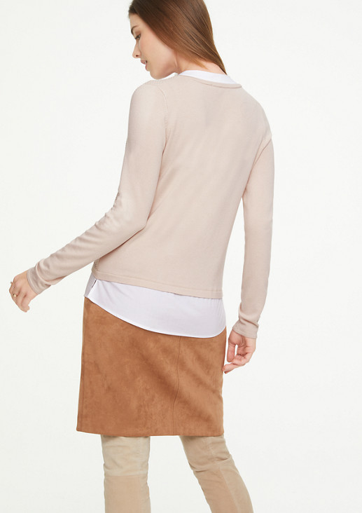 Pullover mit fixiertem Blusen-Insert