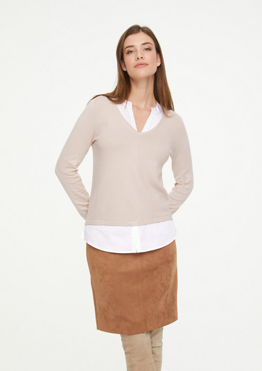 Jumper with fixed blouse insert from comma