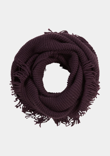 Knit snood with fringing from comma