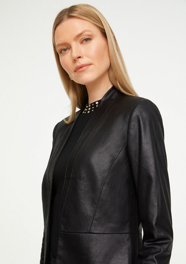 Open Front-Blazer in Leder-Optik