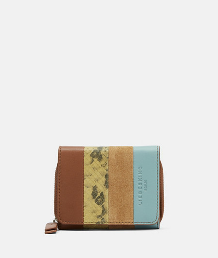 Portemonnaie aus Wildleder und Glattleder in Schlangenhautoptik