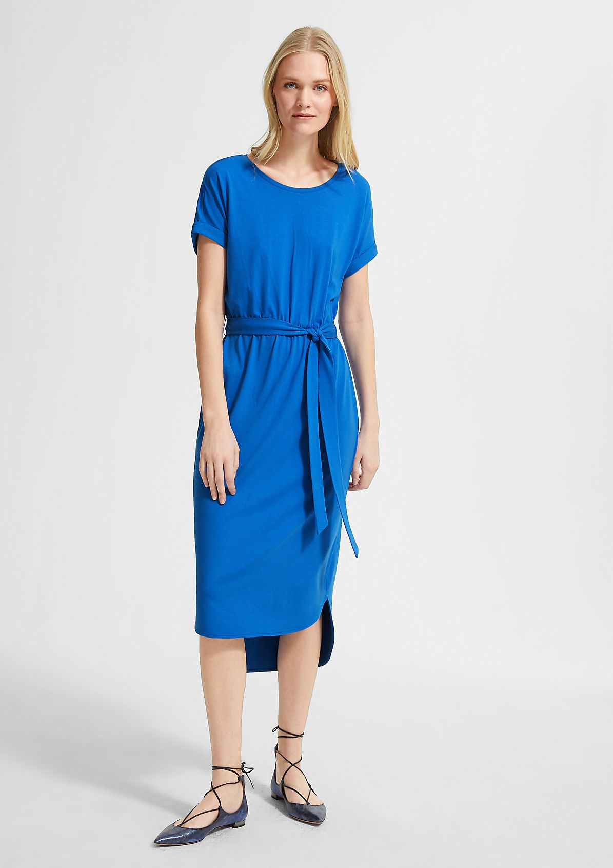 Jersey dress with a tie-around belt from comma