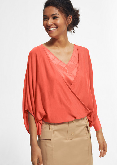 Lightweight poncho with a wrap-over effect from comma