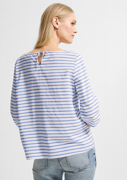 Striped blouse with a drawstring from comma
