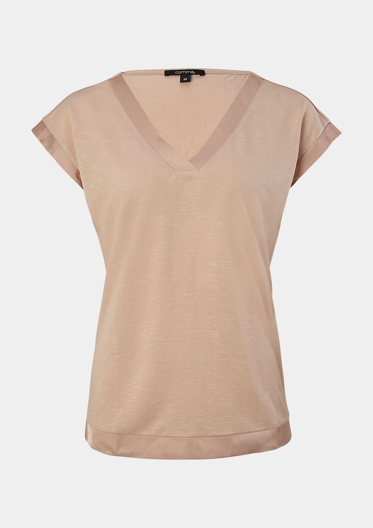 V-neckline top with a satin trim from comma