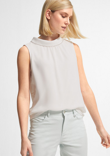 High Neck-Top mit Chiffon-Front
