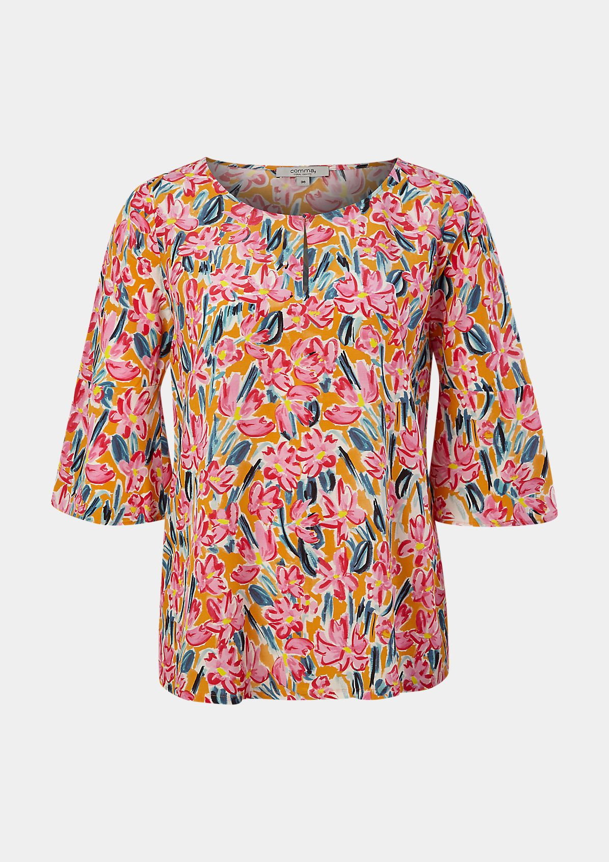 Viscose blouse with trumpet sleeves from comma