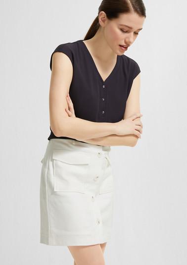 Jerseyshirt mit Chiffon-Front