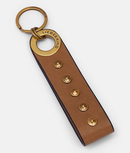 Schlüsselanhänger mit Logo-Prägung und Nieten