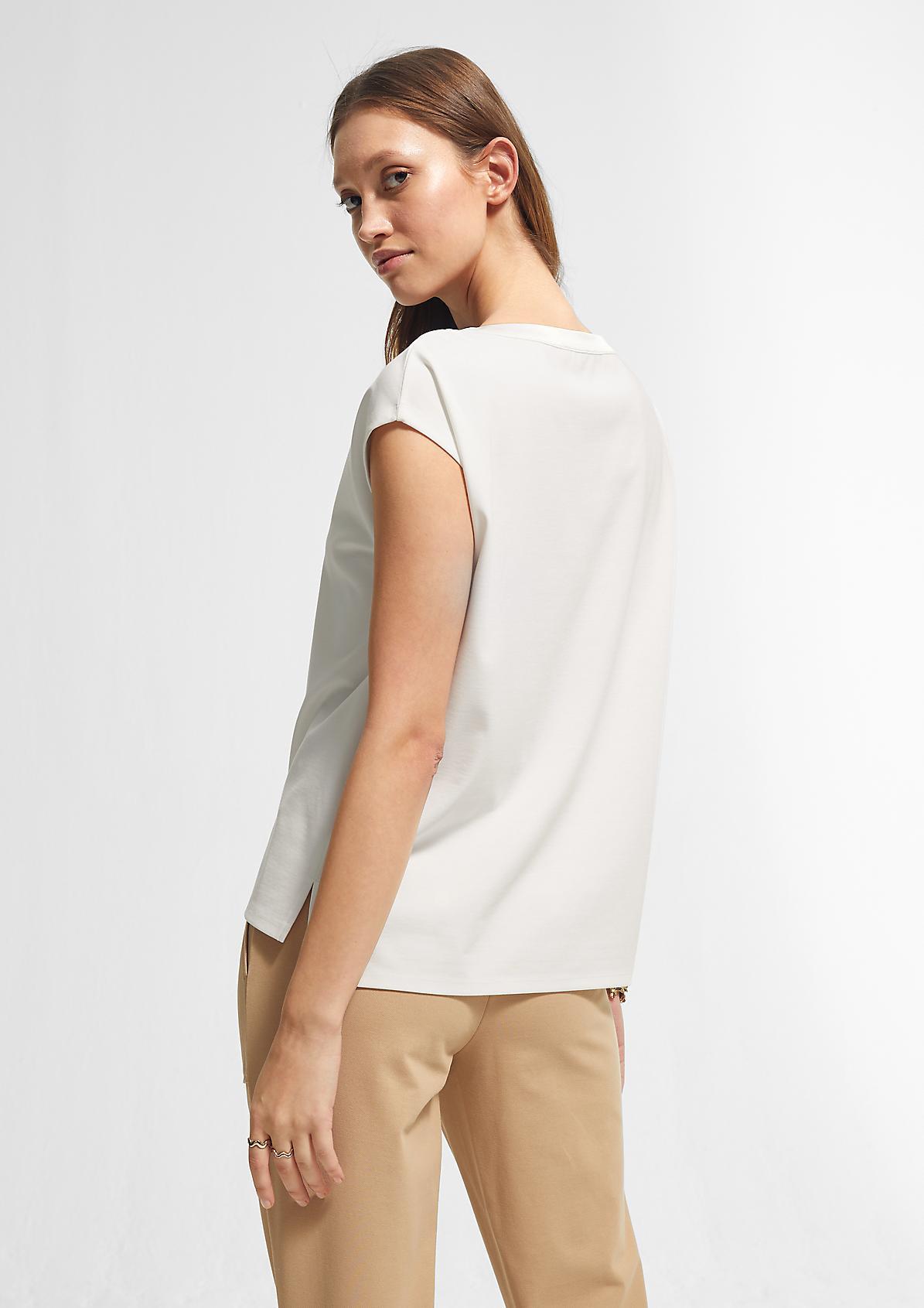 T-Shirt mit Satinblende