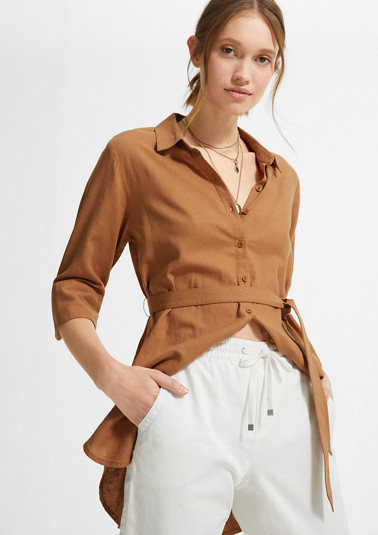 Long blouse with tie-around belt from comma