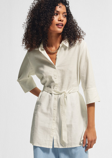 Long blouse with a tie-around belt from comma