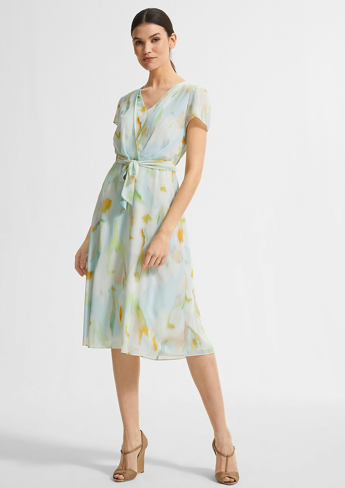 Printed dress with a wrap-over effect from comma