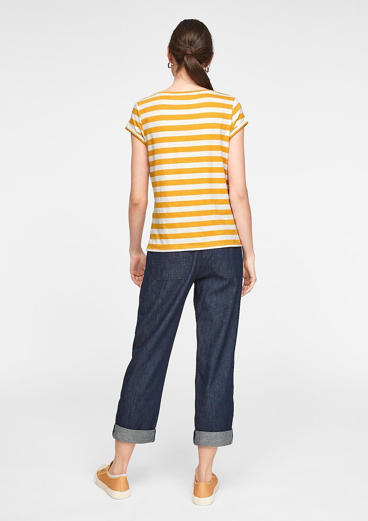 Geringeltes Shirt aus Leinenmix