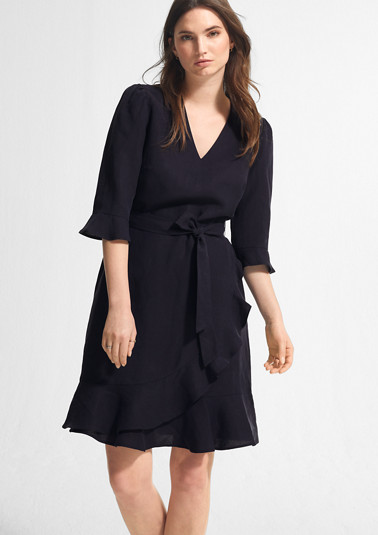 Leinenmix-Kleid mit Volants
