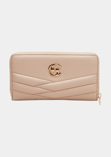 Leather purse with a logo from comma