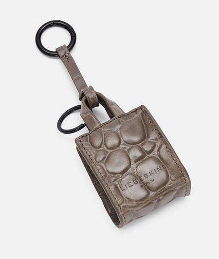 Taschenanhänger aus Leder mit Krokoprägung