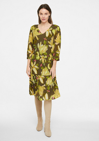 Bedrucktes Kleid mit 3/4-Ärmel