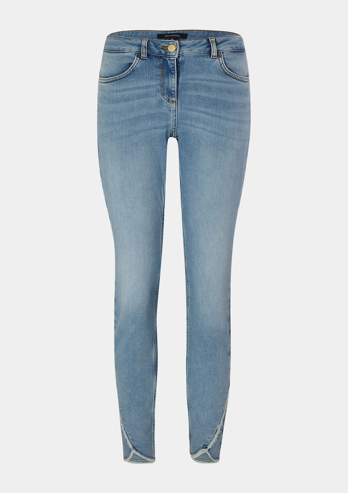 Skinny Fit: Jeans mit Fransen