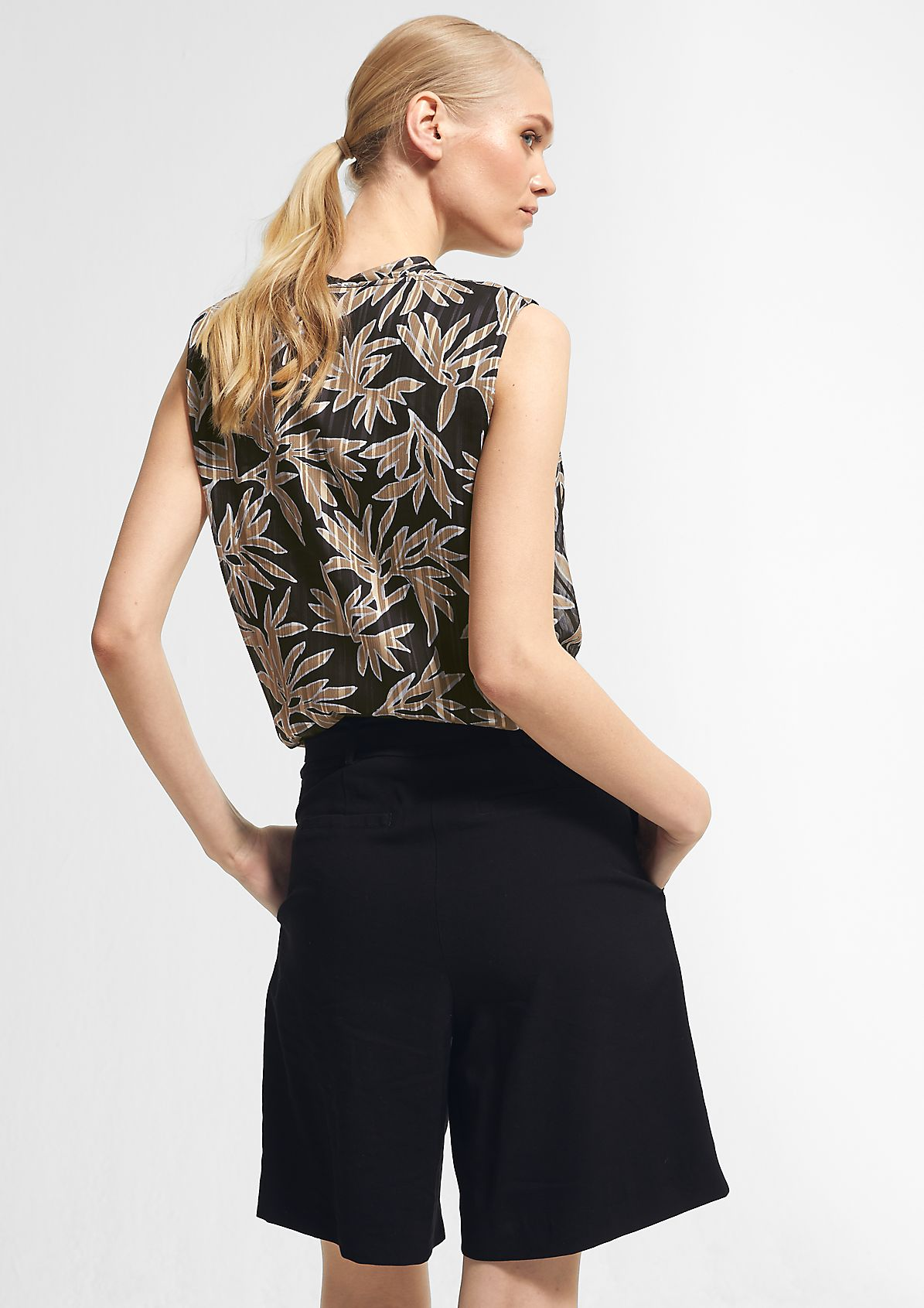 Blouse top with a lower layer made of jersey from comma