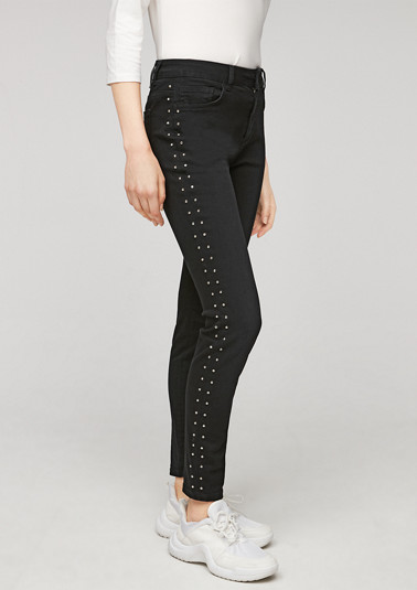 Skinny Fit: stretch jeans with an appliqué from comma