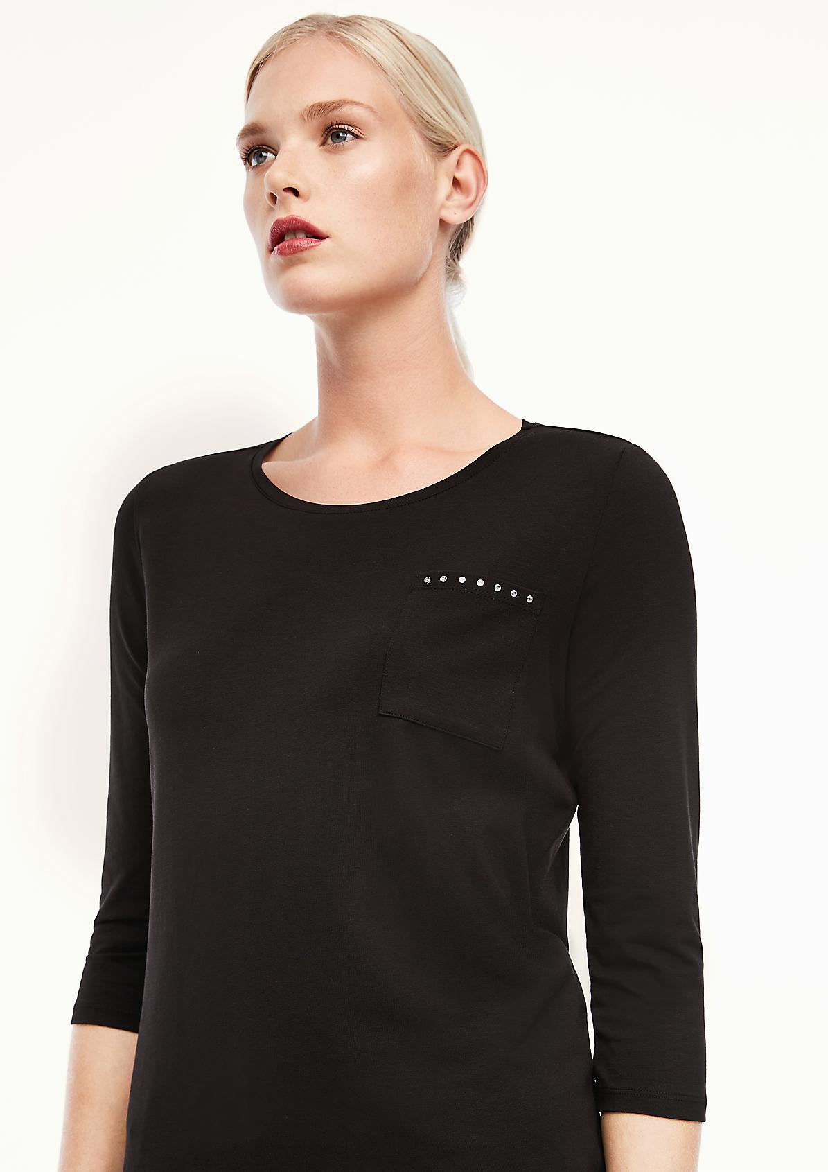 Jerseyshirt mit Schmuckstein-Detail