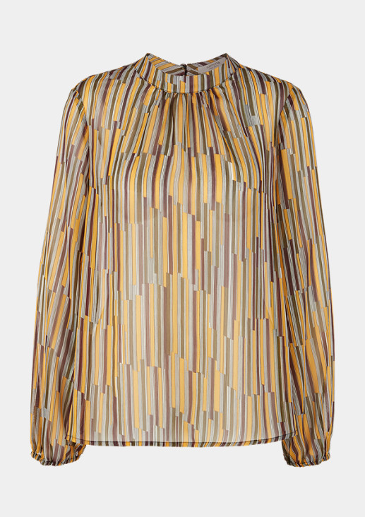 High Neck-Bluse mit Glitzergarn