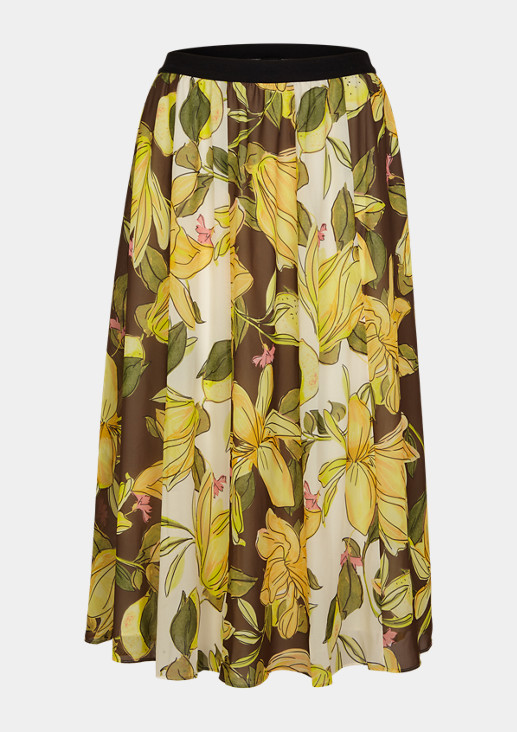Midirock mit floralem Print