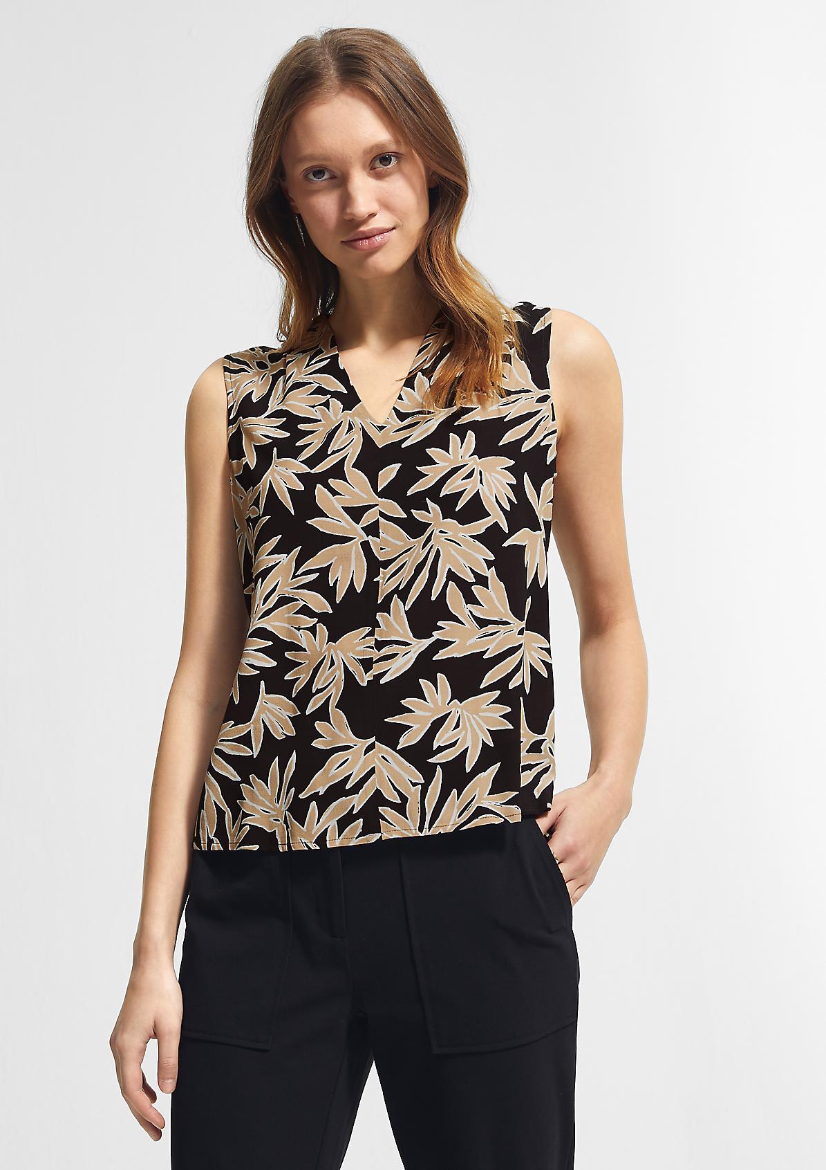 Ärmellose Bluse aus Crêpe