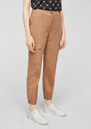 Cotton satin cargo trousers from comma