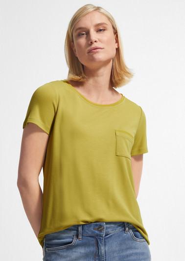 Jerseyshirt mit Chiffonblende