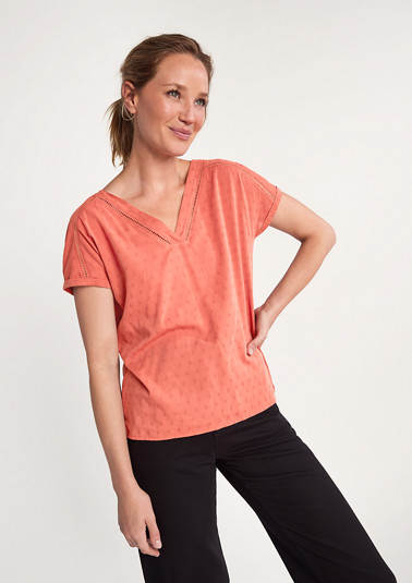 T-shirt with an embellished blouse front from comma